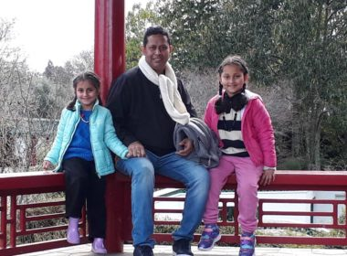 "Saibal Sinha and his daughters. ""Every single day is a new day,"" he says. Photo supplied"