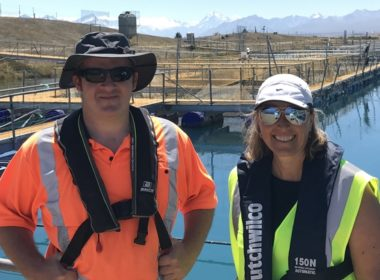 Left to right: Tekapo farm manager, Martin McDonald, with Sarah Ottrey