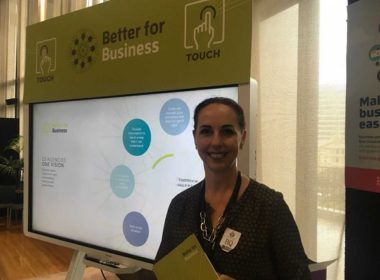 Part of New Zealand's Better for Business (B4B) display at the 2018 D5 Government Showcase, with Lisa Casagranda, director B4B, Ministry of Business, Innovation & Employment (MBIE). Photo supplied
