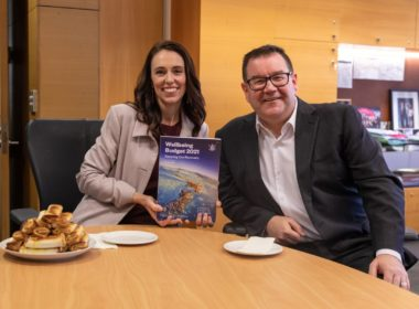 The Prime Minister Jacinda Ardern and Minister of Finance Grant Robertson with the Budget (and the traditional cheese rolls). Photo Prime Minister's Office
